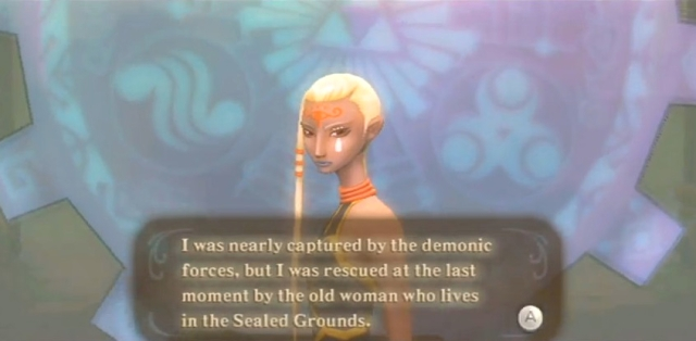 Skyward Sword Zelda prays at the goddess statues from YouTube (2)