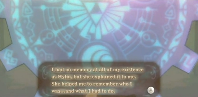 Skyward Sword Zelda prays at the goddess statues from YouTube (3)