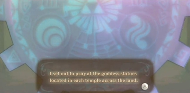 Skyward Sword Zelda prays at the goddess statues from YouTube (4)