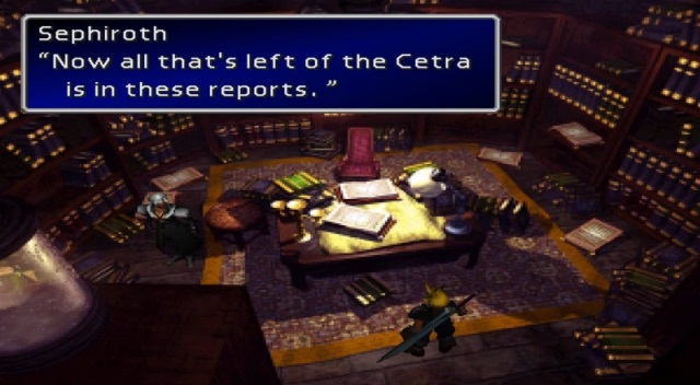 "Sephiroth: ""Now all that's left of the Cetra is in these reports."""
