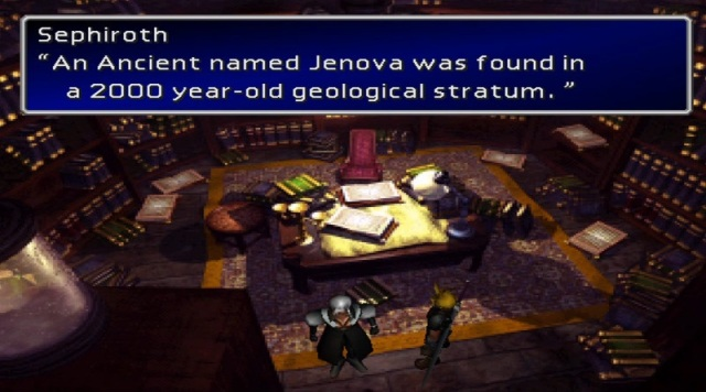 "Sephiroth: ""An ancient named Jenova was found in a 2000 year-old geological stratum."""