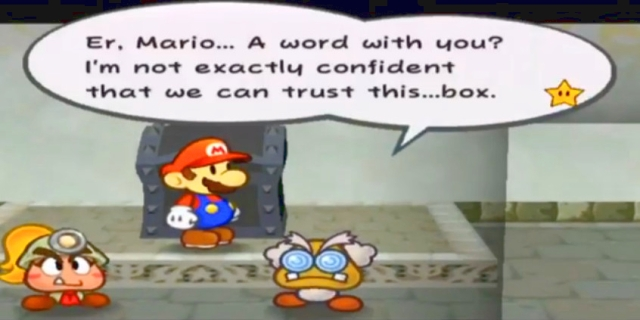 "Professor Frankly: ""Er, Mario... A word with you? I'm not exactly confident that we can trust this...box."""