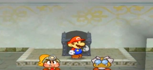 """""""Me?"""", Mario emotes."""
