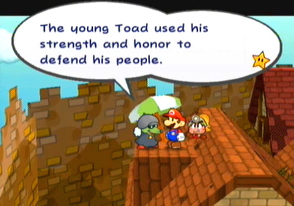 """The young Toad used his strength and honor to defend his people."""
