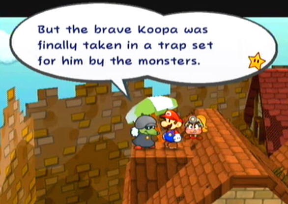 """But the brave Koopa was finally taken in a trap set for him by the monsters."""