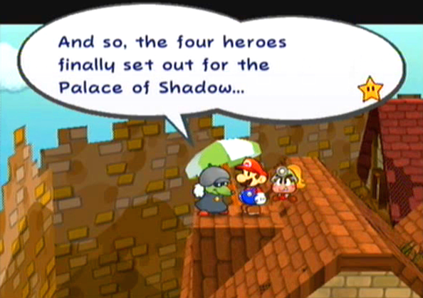 """And so, the four heroes finally set out for the Palace of Shadow..."""