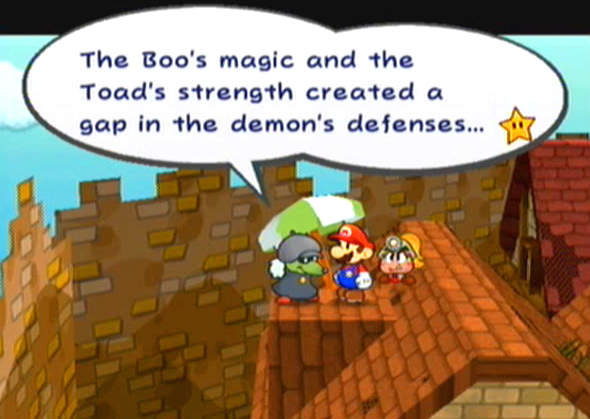 """The Boo's magic and the Toad's strength created a gap in the demon's defenses..."""