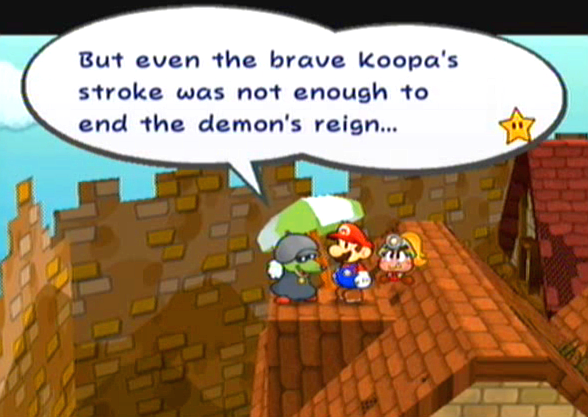 """But even the brave Koopa's stroke was not enough to end the demon's reign..."""