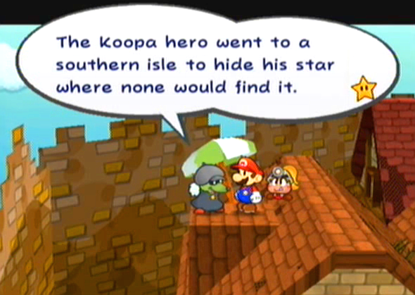 """The Koopa hero went to a southern isle to hide his star where none would find it."""