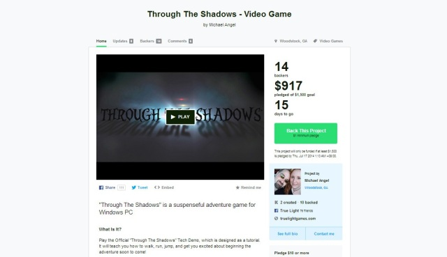Through the Shadows Kickstarter Page