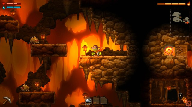 Caverns like this one are one of the few non-randomly generated areas in SteamWorld Dig and often contain thoughtfully designed puzzles/upgrades and materials