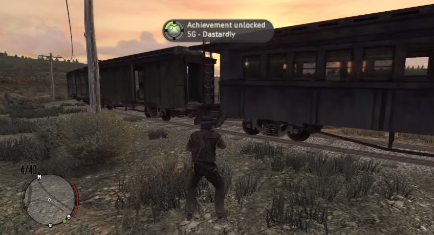 A user earns the �Dastardly� secret achievement (worth 5 Gamerscore) in Red Dead Redemption by placing a hogtied woman on the train tracks.