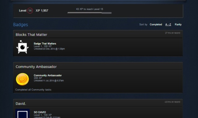 Steam Badges and Level from my Steam Profile