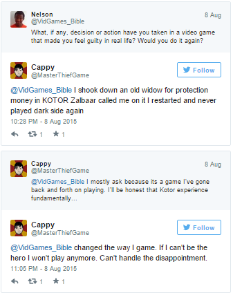 Gamasutra: Xalavier Nelson's Blog - Guilt and Choice--Player